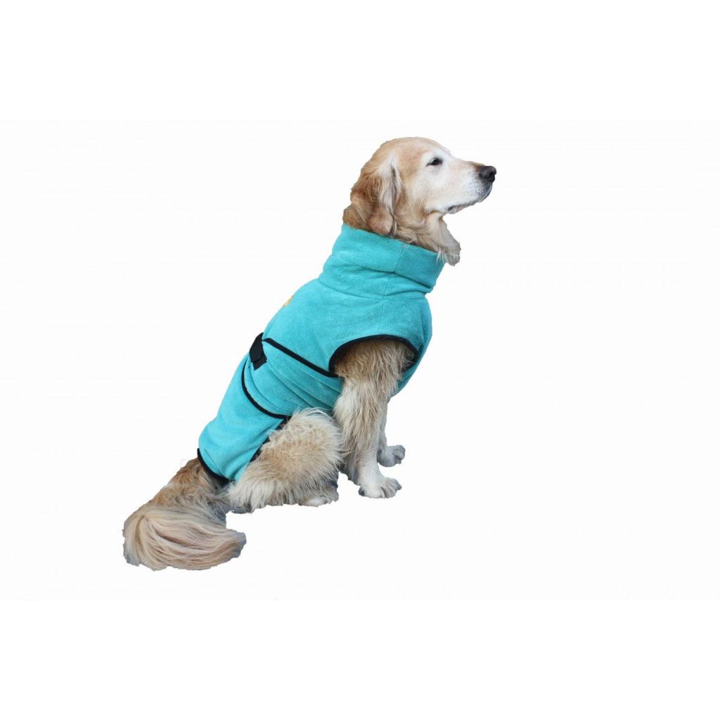 hillcoataqua, chillcoat, superfurdogs, badjas, hondenjas, micoviber, natte hond, vachtverzorging, comfortabel, wassen hond, bossanddog