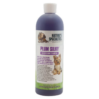 plum silky 473 ml, nature specialities, silky shampoo, hondenshampoo, shampoo voor hond, boss and dog