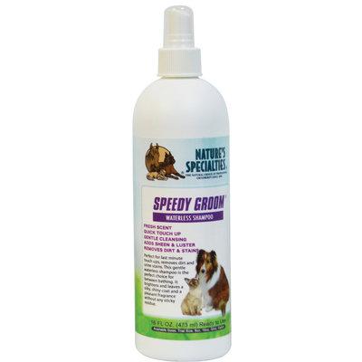speedy groom, 473 ml, waterless shampoo, droogshampoo, natures specialities, shampoo voor honden en katten, boss and dog