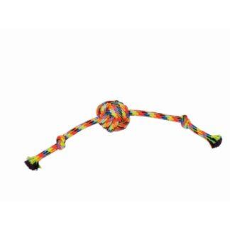 touw met bal klein, flostouw, hondentouw, regenboog, hondenspeelgoed, boss and dog