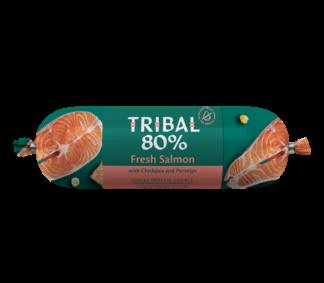 tribal worst zalm. houdbare hondenworst, graanvrij, natuurlijke hondenvoeding, snack hond