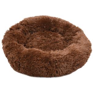 520767 krems donker bruin 50 cm, fluffy mand, ronde mand, hondenmand, donut mand hond, flamingo, boss and dog