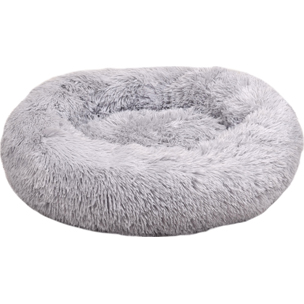 520776 krems licht grijs 50 cm, fluffy mand, ronde mand, hondenmand, donut mand hond, flamingo, boss and dog
