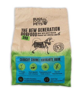 bugsforpets crunchy, insecten, hondevoeding, een eiwitbron, meelworm en rijs, hondensnack, puppy training, eliminatie dieet