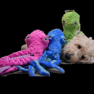 octopussuus, bubbly octopus, pluche, hondenknuffel, inktvis, octopusknuffel