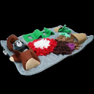 rechthoekige fluffy speelmat, AFP dig it, speelmat, rechthoekige mat met speeltje, snuffelmat hond, hersenwerk hond, hondenspeeltje