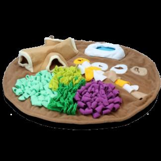ronde fluffy speelmat, AFP dig it, speelmat, ronde mat met speeltje, snuffelmat hond, hersenwerk hond, hondenspeeltje